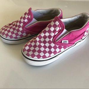 Vans Pink Checker Slip Ons Toddler 8